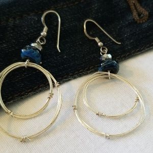Hand made silver and blue earnings